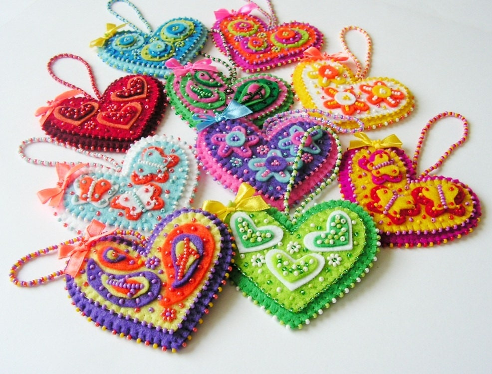 Felt heart ornament heart decoration beaded heart colorful for Heart decoration ideas