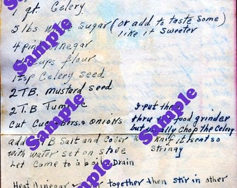 Instant Digital Download-Vintage Recipe from Maine for Mustard Relish