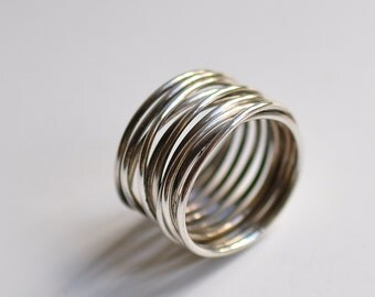 Sterling silver wrap ring, hand forged, unique