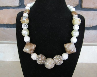 Chunky Tan and Brown Beaded Necklace