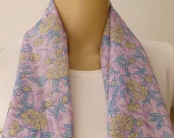 Silk scarf, Sari scarf, Floral Scarf, Spring Scarf