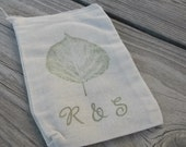 Set of 20 Hand stamped  Aspen Leaf Custom Wedding Party Muslin Gift Favor Bags100% organic made in america