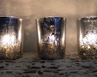Set Of 3 Votive Mercury Glass Candle Holder Wedding