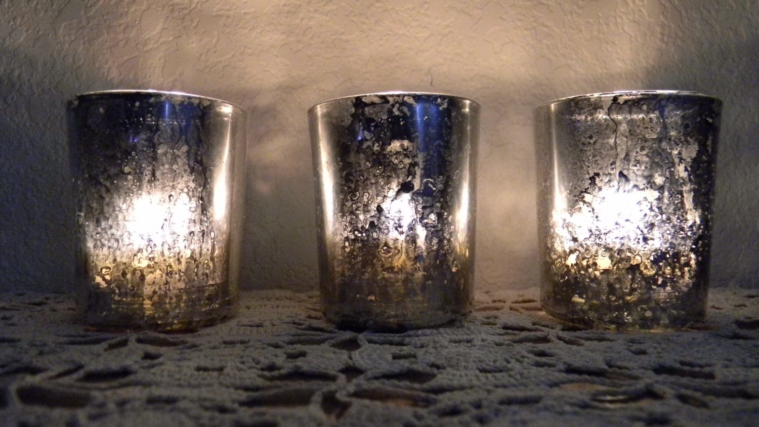 Set Of 3 Votive Mercury Glass Candle Holder By Crimsonhollow