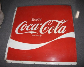 "METAL COKE SIGN Coca Cola made of metal 37"" by 39""Vintage Soda Advertising 70's epsteam Vintage Retro"