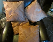2 Lovely vintage bucksin-colored pillows 16 x 16, zippered