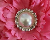 Vintage Metal Buttons - Moon Pearl Button - White  Pearl - 26mm - set of 5