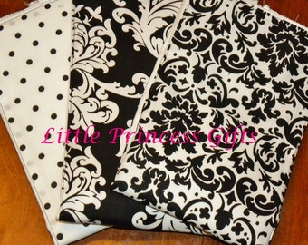 Set of 3 black and white damask burp cloths