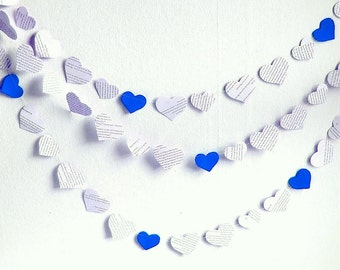 Royal blue wedding banner, black white blue heart vintage paper wedding garland, handmade ecofriendly bridal shower
