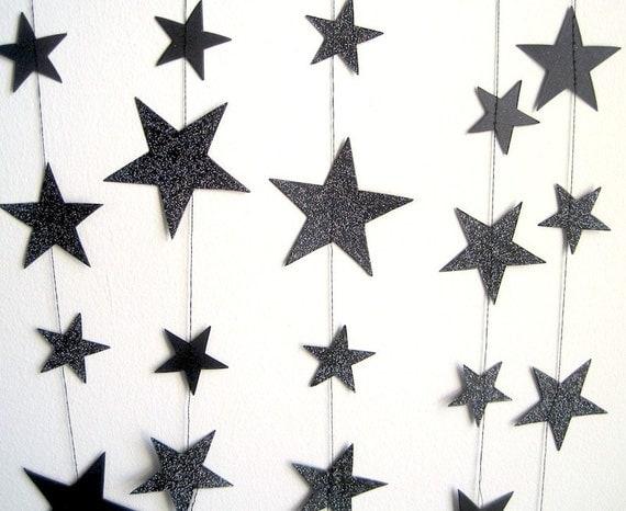 Black Paper garland, glitter black stars banner, 8ft paper decoration, engagement, anniversary party, handmade