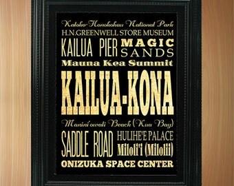 Kailua-Kona, Hawaii, Typography Art Poster/ Bus / Transit / Subway Roll Art 8X10-Kailua-Kona's Attractions Wall Art Decoration-LHA-387