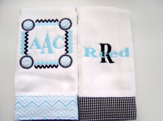 Baby Boy Monogrammed Burp Cloth Set