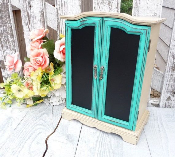 Beige teal shabby chic jewelry box armoire by - Telas shabby chic ...