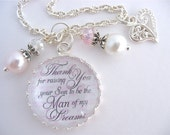 Personalized Mother of Groom Gift BEACH BRIDAL JEWELRY Silver Man of my Dreams Bridal Gift Pink Damask Mother in Law Gift Beach Jewelry