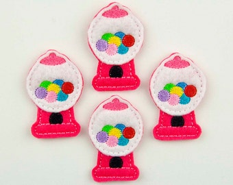 GUMBALL MACHINE - Embroidered Felt Embellishments / Appliques - White/Hot Pink (Qnty of 4) SCF0271