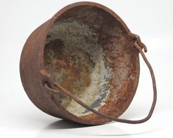 Vintage Cast Iron Pot Primitive Bucket Rusty Caldron