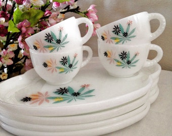 Vintage Party Snack Set Cup and Tray  Pink Aqua Maple Leaf