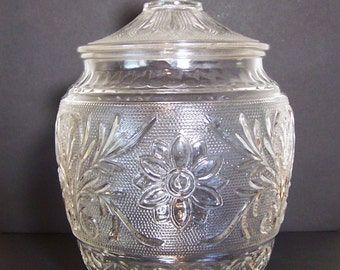 PRESSED GLASS CANISTER - Victorian Style - Large  Cookie, Cracker, Candy or Biscuit Jar with Lid