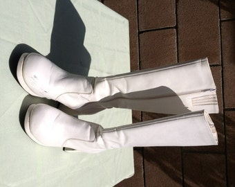 60s 70s Used White Go Go Boots Hippie Boots Halloween Theme Party