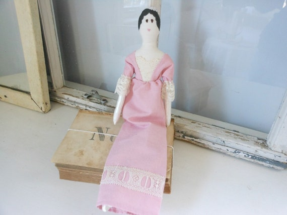 Jane Austen art doll, cloth doll in rose-colored regency-inspired dress, art doll