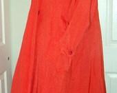 Vintage Raincoat Swing Orange Tangerine  Coat 80s GALLERY Size Medium