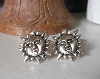 Silver Sun Earrings - Sun Stud Earrings - Silver Stud Earrings, Sun Post Earrings