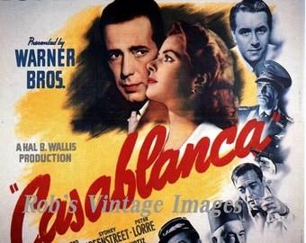 Casablanca Poster Classic Movie Humprey Bogart  Ingrid Bergman 1940s  8 X 11 Nice print