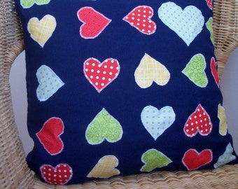 Applique Hearts Pillow, Cushion cover, Decorative Throw - Home Decor
