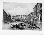 Venice, Italy. Samuel Prout. Original Vintage Antique Print 1915  (spLIII)