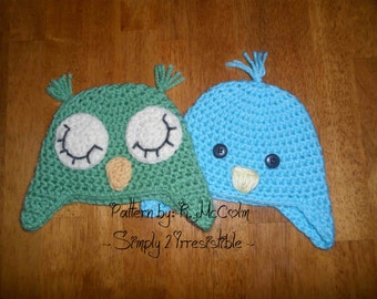 Baby Bird and Sleepy Owl No-Ties Earflap Hat Pattern - Crochet Pattern 52 - Newborn to 12 Years - us or uk Terms - INSTANT DOWNLOAD