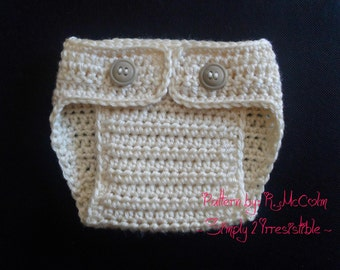 Double Button Adjustable Diaper Cover - Crochet Pattern 54 - Newborn to 2 Years - us and uk terms - INSTANT DOWNLOAD