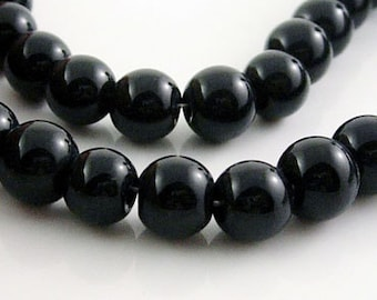 4 Strands Glass Bead Strand, Black, Round, 4mm, FREE SHIPPING to USA