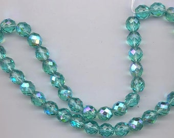 24 Czech firepolished glass  beads - 10 mm - unbelievably gorgeous transparent green-hued aqua AB (shade 1)