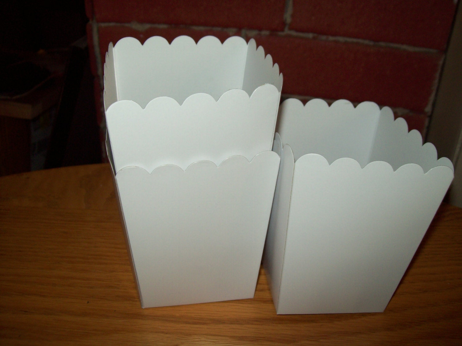 Mini White Popcorn .Boxes Movie Night Party Set of 12