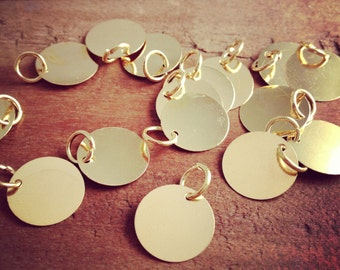 20 - Thin Round Gold Disc Charm Bail Jewelry Supplies 12mm Round Stamping Disc with Jump Ring Attached -(AP026)