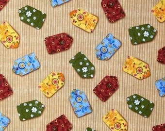 SALE - Windham Fabrics - Gazebo Collection - Flower Seed Packets - Tan