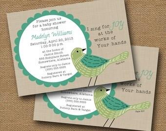 "Bird Baby Shower Invitation DIY PRINTABLE ""Hand-Sewn Bird"" Baby Girl or Boy Christian Scripture Bible Verse"