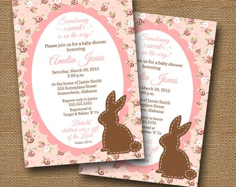 shabby cottage chic baby shower invitation diy printable easter spring