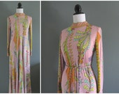 vintage 1960s BESSI pink colorful dress with tie belt and tulip skirt // RESERVED