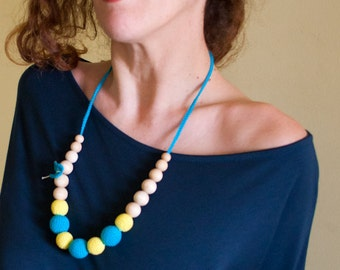 Nursing Necklace/Teething Necklace by SimplyaCircle-Breastfeeding Necklace-Eco-Friendly-Aqua Yellow-Mother's day