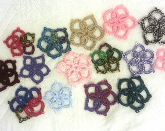 SALES - Pack of 15 - Tatted Yarn Flowers - FREE UK delivery