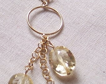Citrine and 14k Gold Filled Drop Necklace