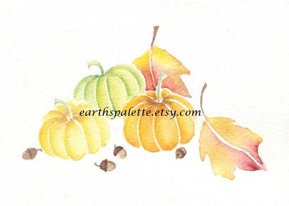 Pumpkin 5x7 original watercolor painting, art & collectibles earthspalette