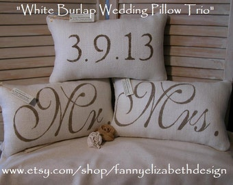 3 Wedding Pillows FREE SHIPPING-- Mr. and Mrs.- Burlap Mr. and Mrs. Pillows-  Wedding Gift- Rustic Wedding-Pillow- Decorative Pillows