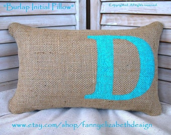 Burlap Initial Pillow FREE SHIPPING- Decorative Pillow-Burlap Pillow-Wedding Gift- Birthday Gift- Name Pillow- Personalized Pillow