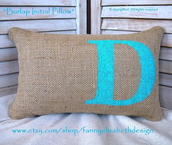 Decorative Initial Pillows : Burlap Initial Pillow FREE SHIPPING Decorative Pillow-Burlap