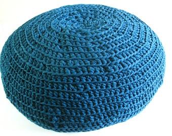 BEDOUIN HIDEAWAY Crocheted pouf - wide, comfortable floor pillow, ottoman, extra seat, foot rest, footstool
