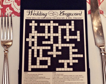 Personalized Wedding Crossword Puzzle. Use as Reception Game, Save the Date, Rehearsal Dinner, Menu, Ceremony Program, Anniversary Gift Idea