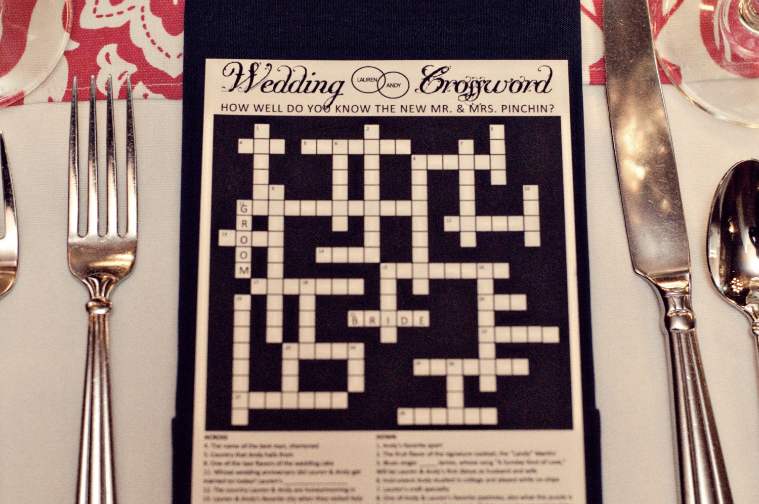 Personalized Wedding Crossword Puzzle Use As Reception Game