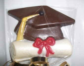 12 Graduation Cap with Diploma Chocolate Lollipops Party Favors